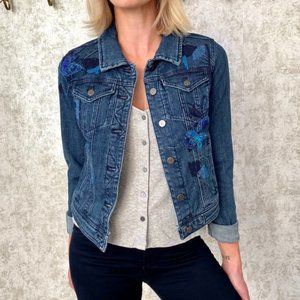 Anthro Embroidered Jean Jacket